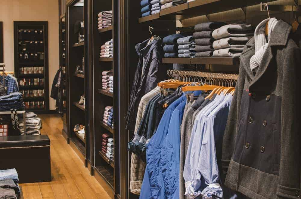Interior of a clothing store for men.