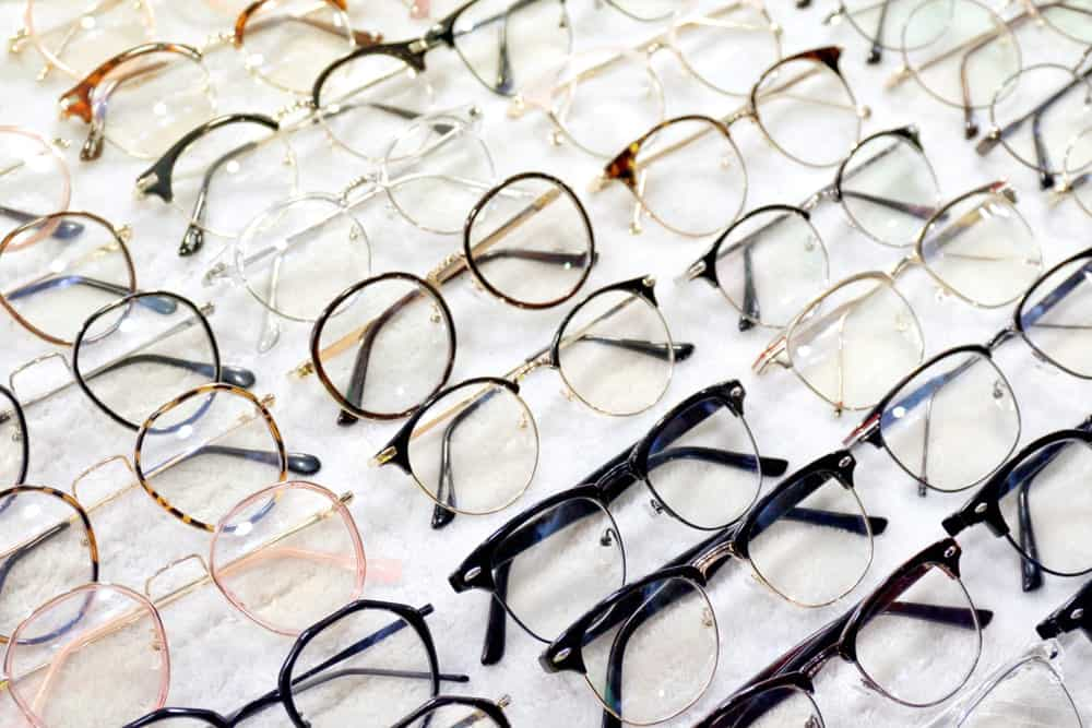 A display of eyeglasses in an optical store.