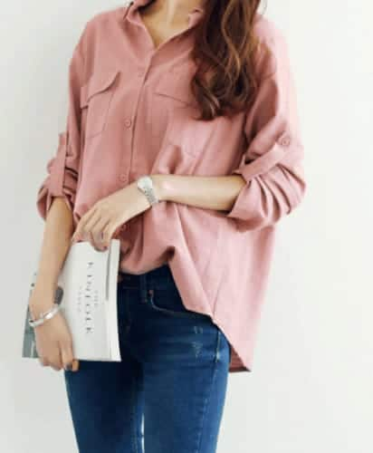 Korean-style, loose top in Pink.