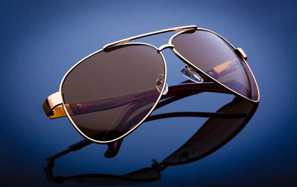 A pair of aviator Ray Ban sunglasses.