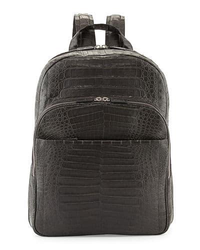 Santiago Gonzalez Caiman Crocodile backpack in black.