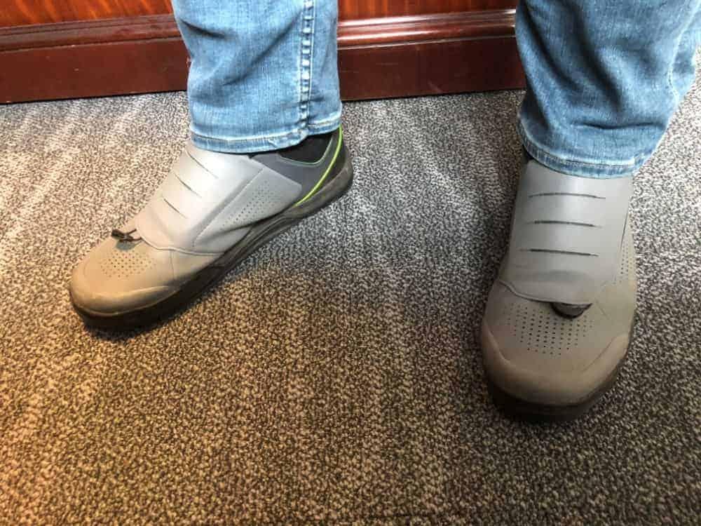 Wearing Shimano GR9 mountain biking shoes.