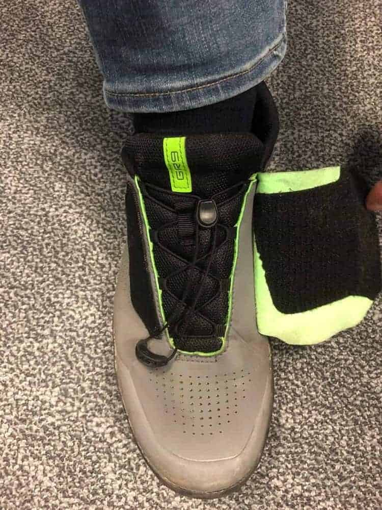 Full view of the velcro flap for the Shimano GR9 shoe.