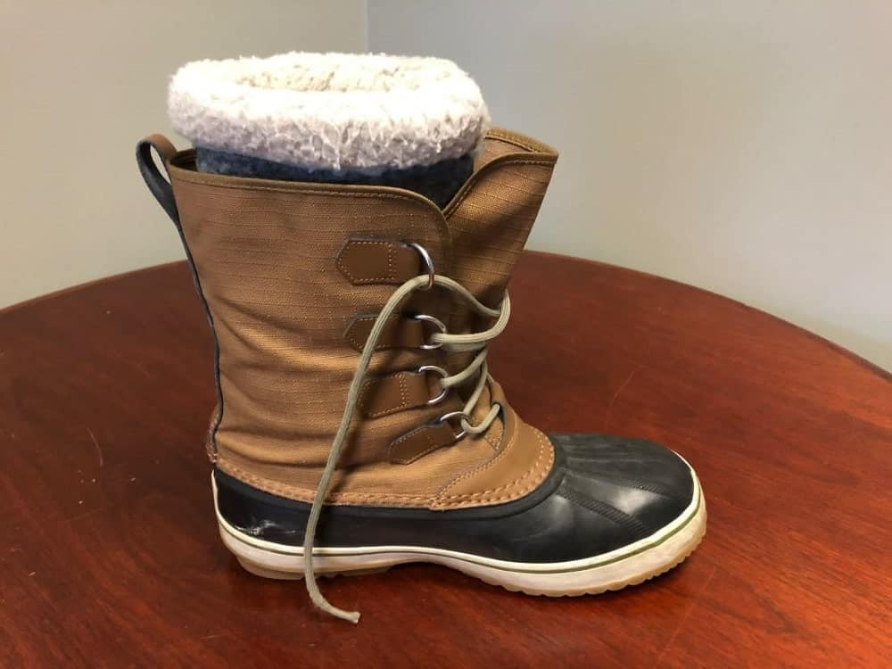 Side view of Sorel snow boots.