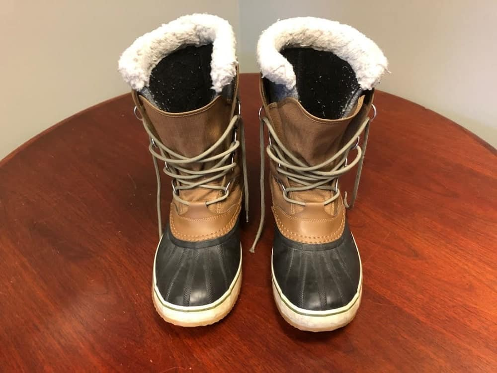 Pair of Sorel Caribou snow boots (front view).