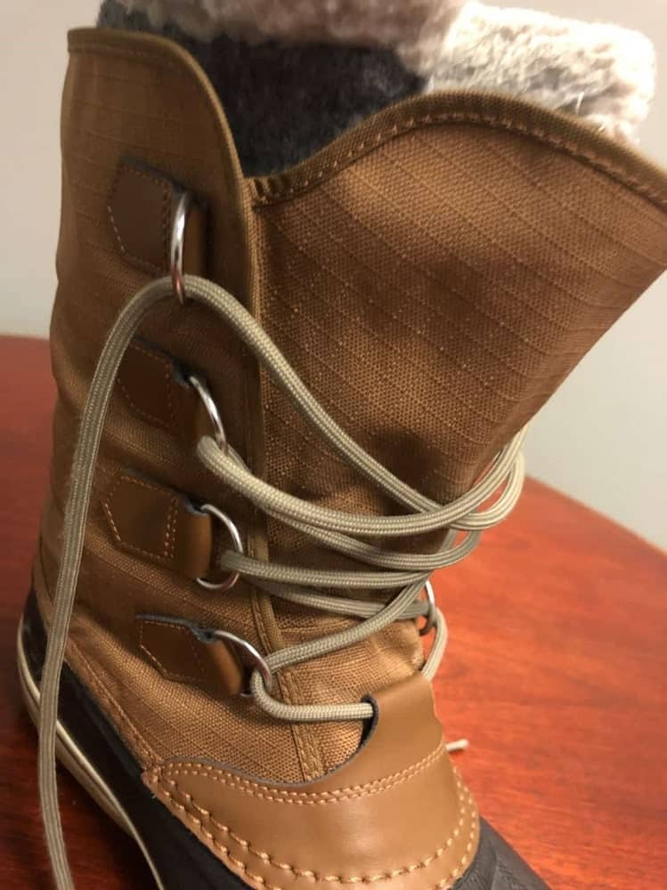 Close-up photo of Sorel boot lace buckles.