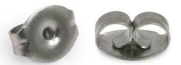 Stainless steel earring backs on white background.