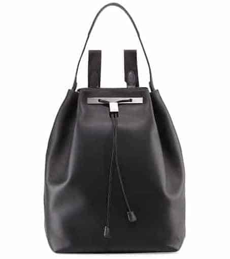 A look at The Row Backpack 11 leather bag black.