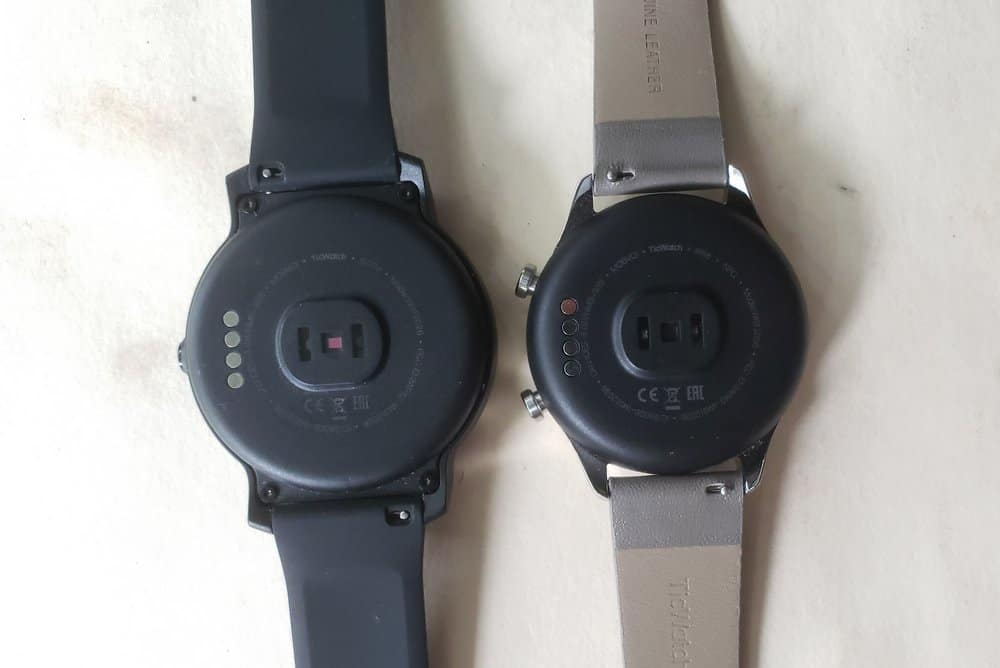 Ticwatch C2 vs Ticwatch E2 heart rate sensor