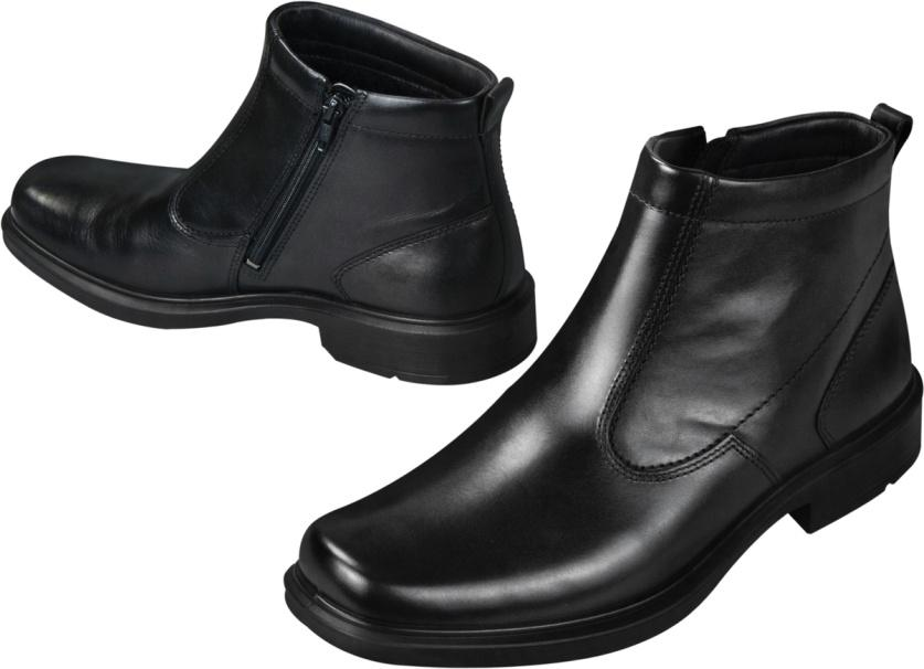 A pair of black leather Ankle Boots.