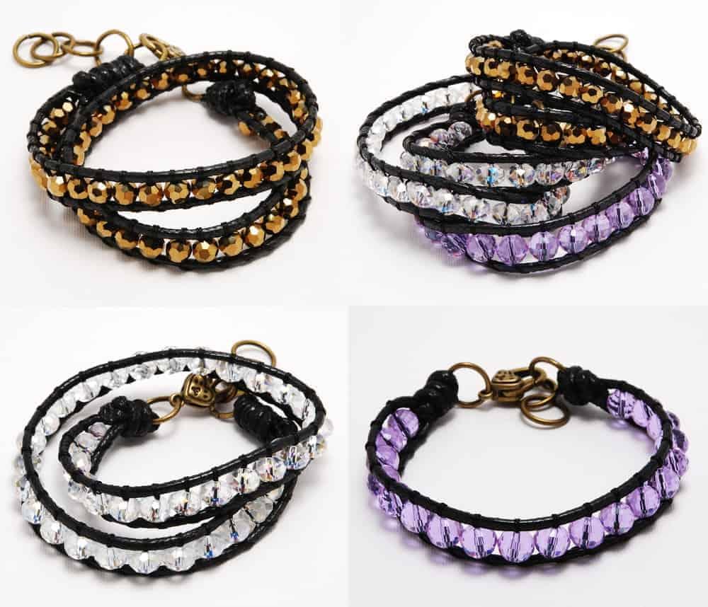 A set of Crysytal bracelets of different colors.