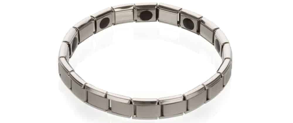 A silver Alternative health bracelet.