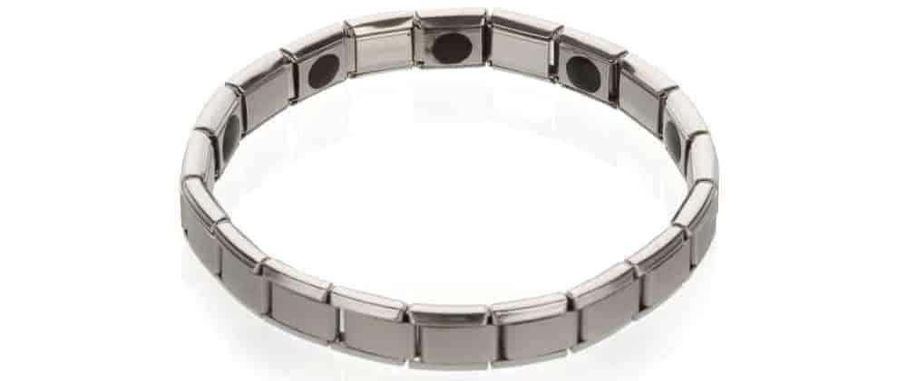 A silver Alternative health bracelet.