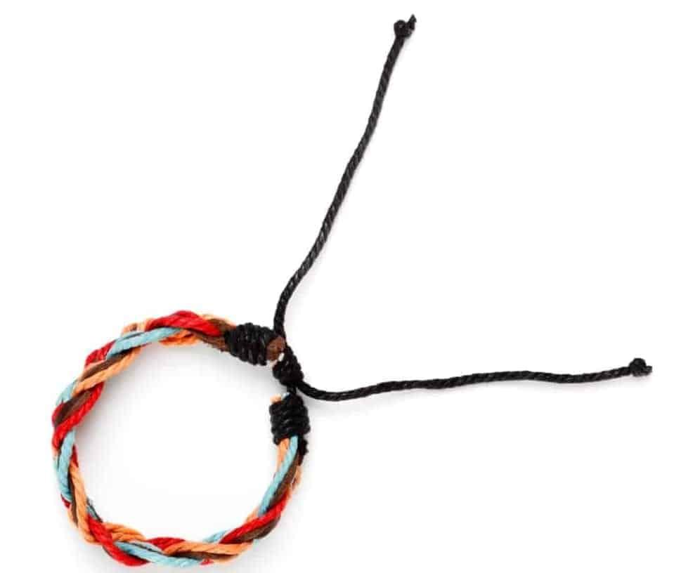 A single colorful Fabric bracelet.