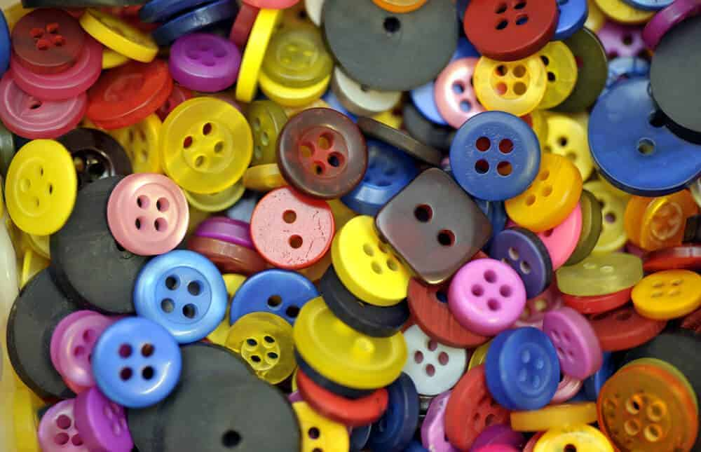 A close look at a bunch of colorful buttons.