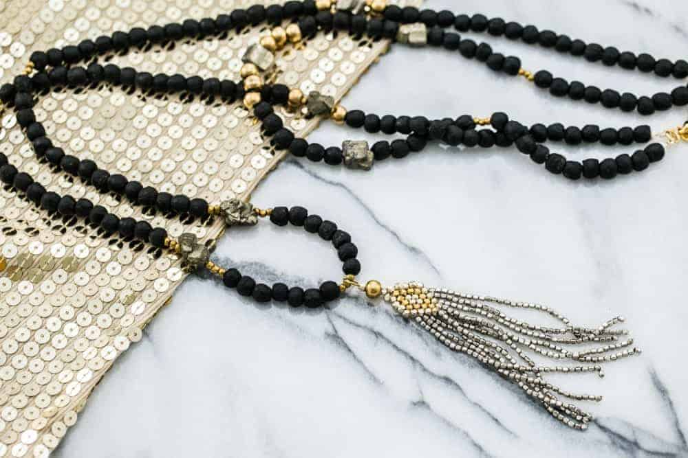 A close look at a tassel necklace.
