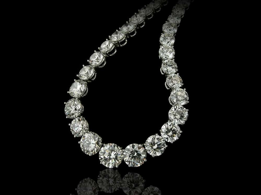 A close look at a stylish diamond princess necklace.