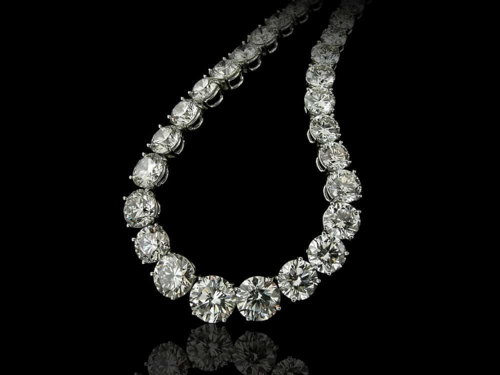 A close look at a stylish diamond princess necklace.