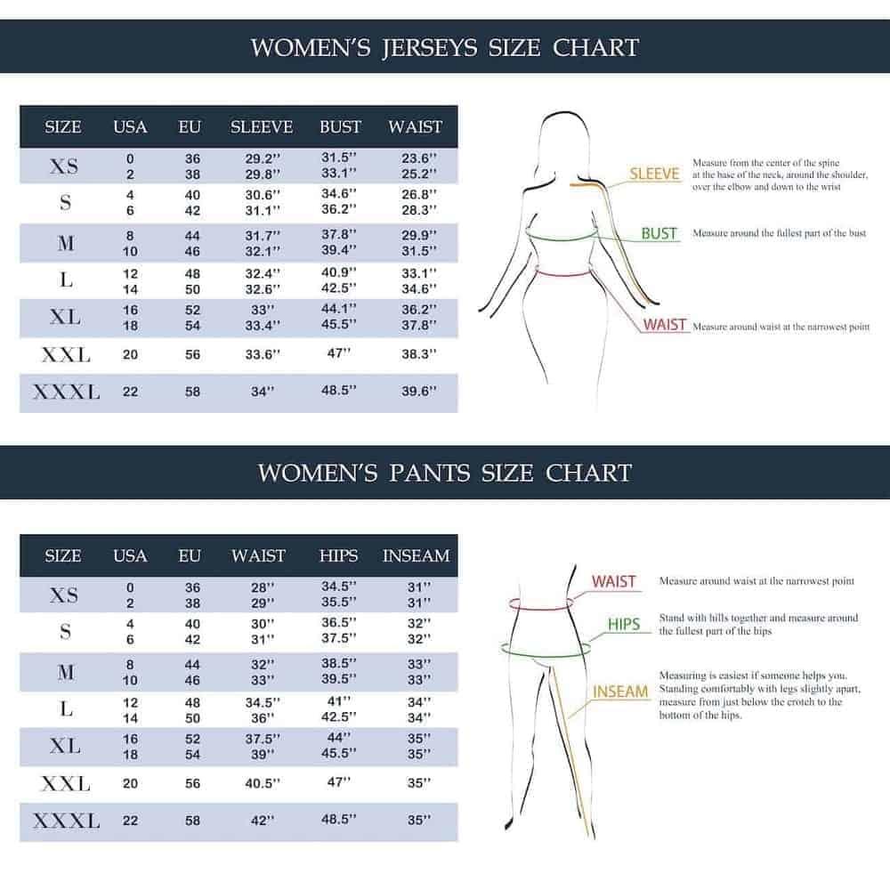 An illustrative chart setting out women's pants sizes.