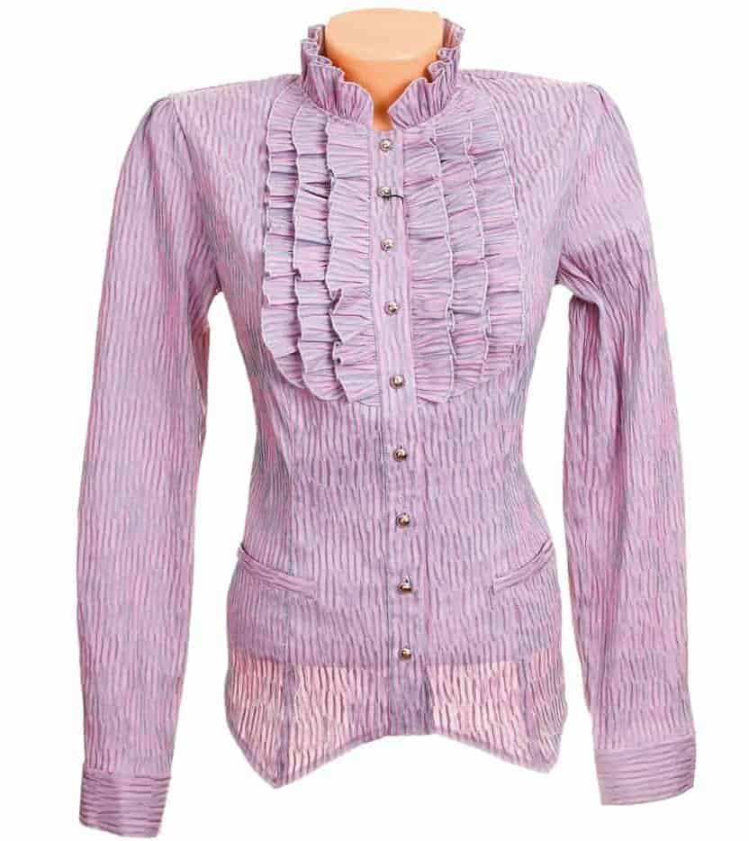 Purple long sleeve blous with jabot collar on white background.