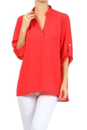 Red long sleeve blouse with mandarin collar.