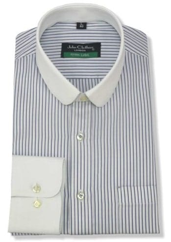 A striped shirt with club collar on white background.