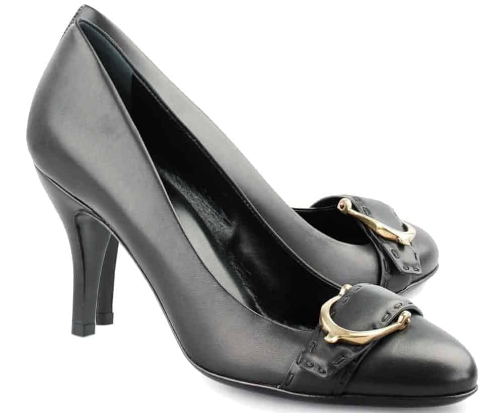 A look at a pair of black leather Kitten Heels.