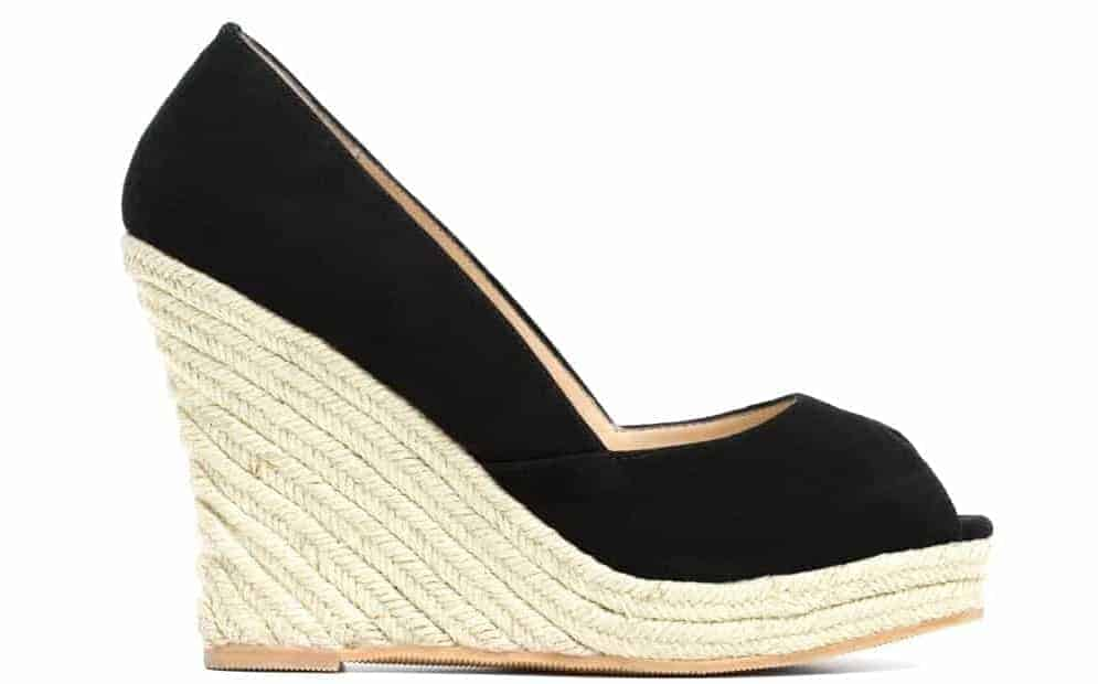 A look at a shoe with espadrille heel.