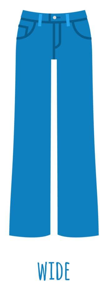 An illustration of wide leg jeans for women.