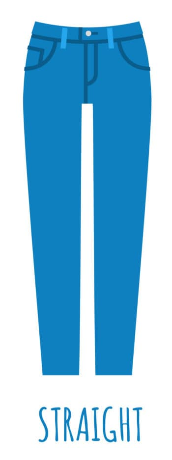 An illustration of straight leg jeans cut for women.