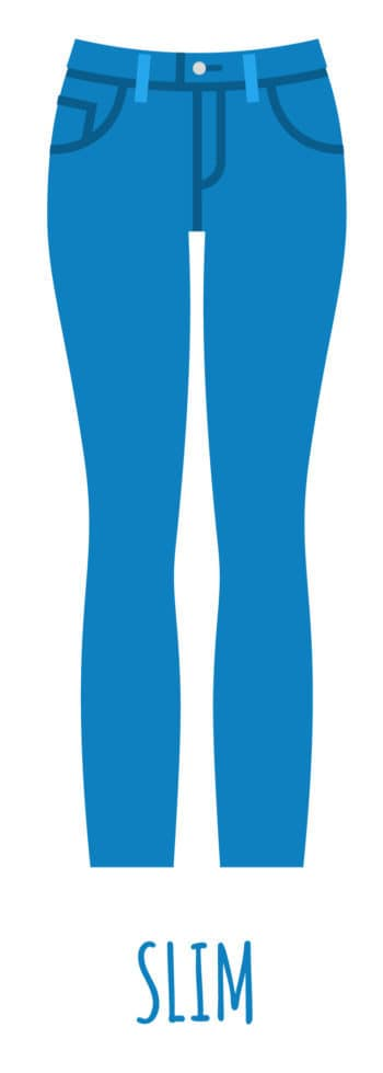 An illustration of slim cut jeans for women.