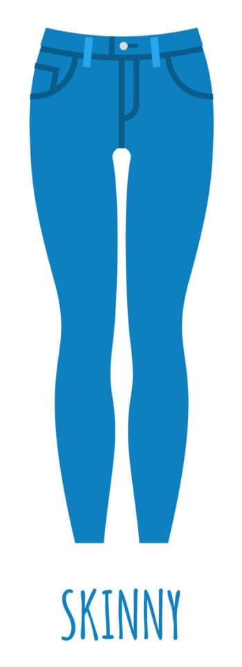 An illustration of skinny jeans for women.