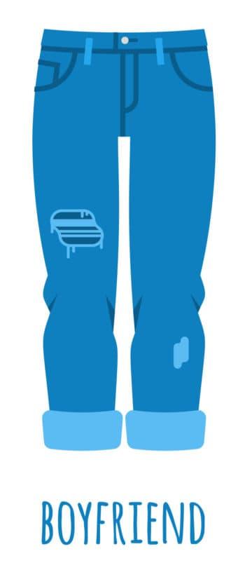 An illustration of boyfriend style baggy jeans for women.