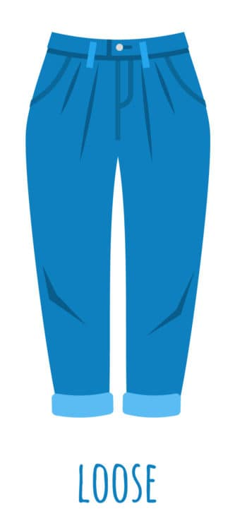 An illustration of loose cut jeans for women.
