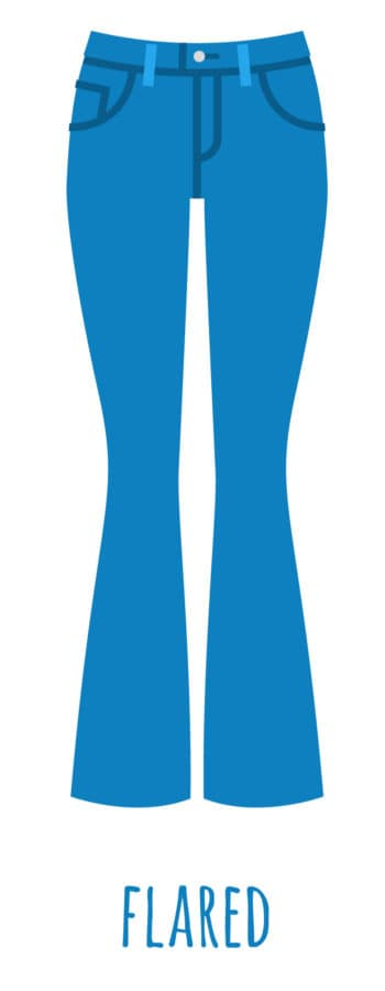 An illustration of flared cut jeans for women.