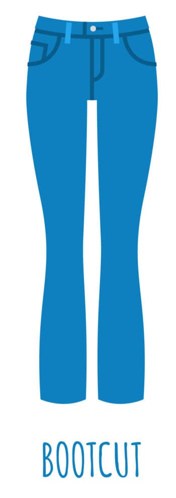 An illustration of bootcut jeans style for women.