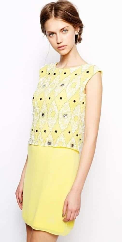 Yellow frock and frill top for young women.