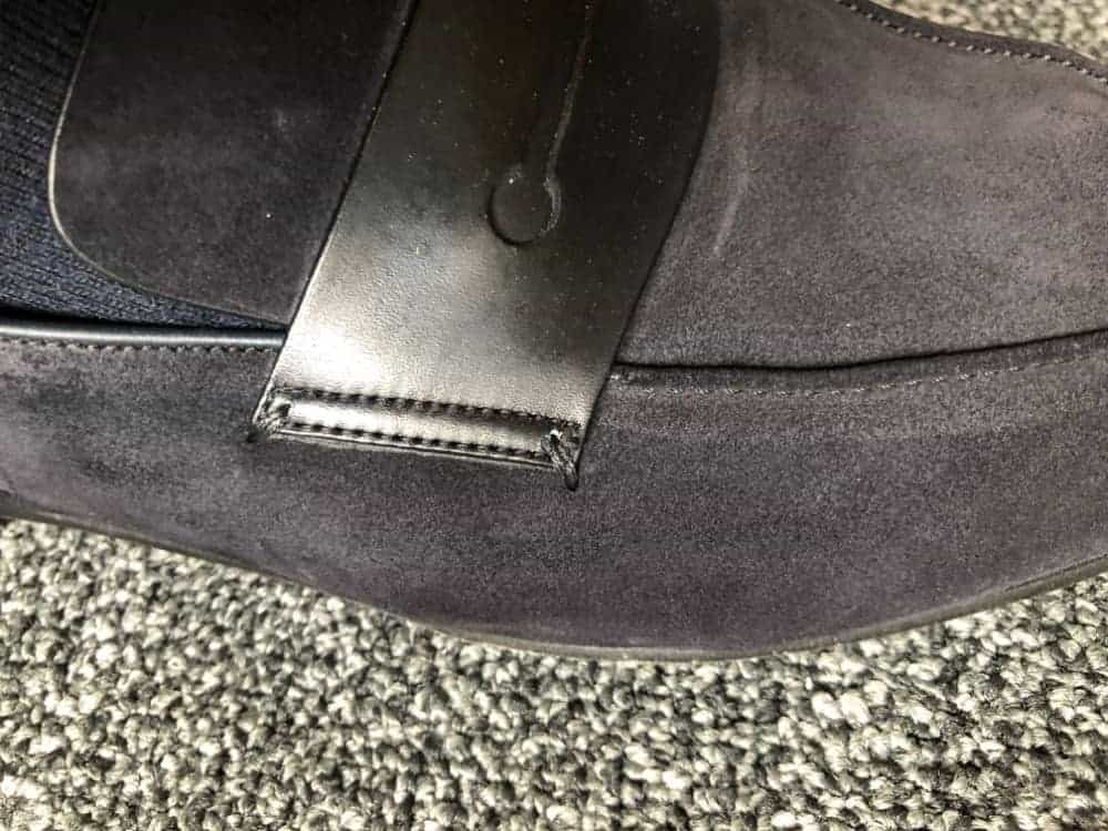 Close-up image of Ermenegildo Zegna A'Sola suede loafer.