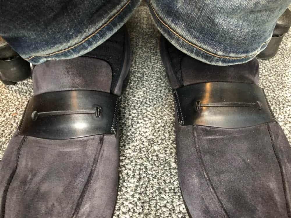 Close-up photo of the tops of Ermenegildo Zegna A'Sola loafers.