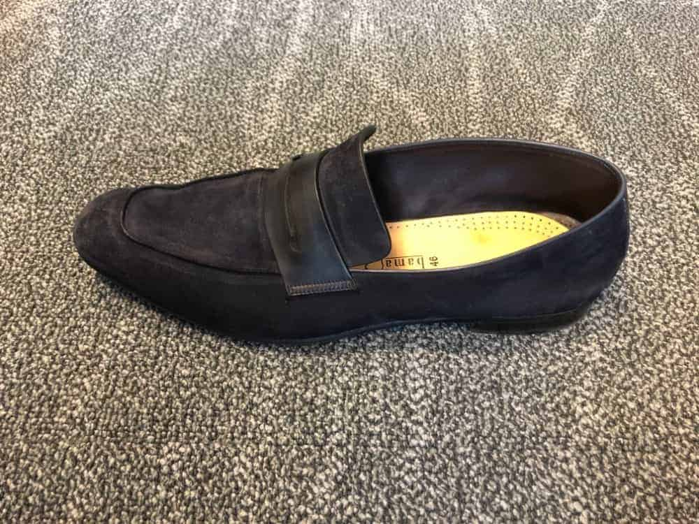Side top image of blue suede loafer by Zegna.