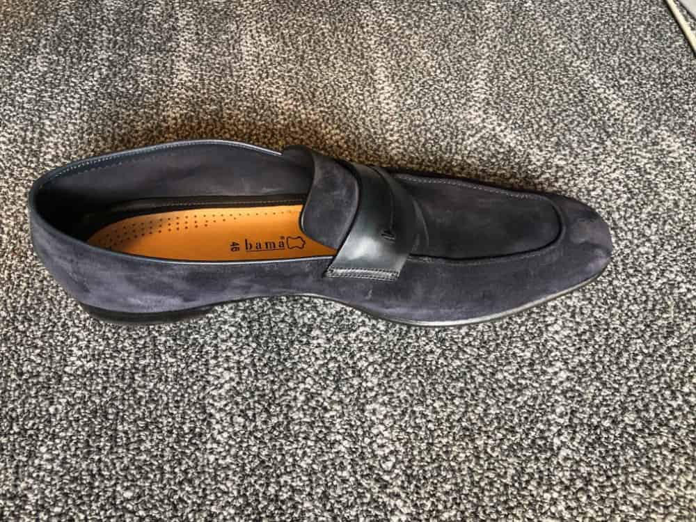 Top inside view of Zegna navy blue loafer.