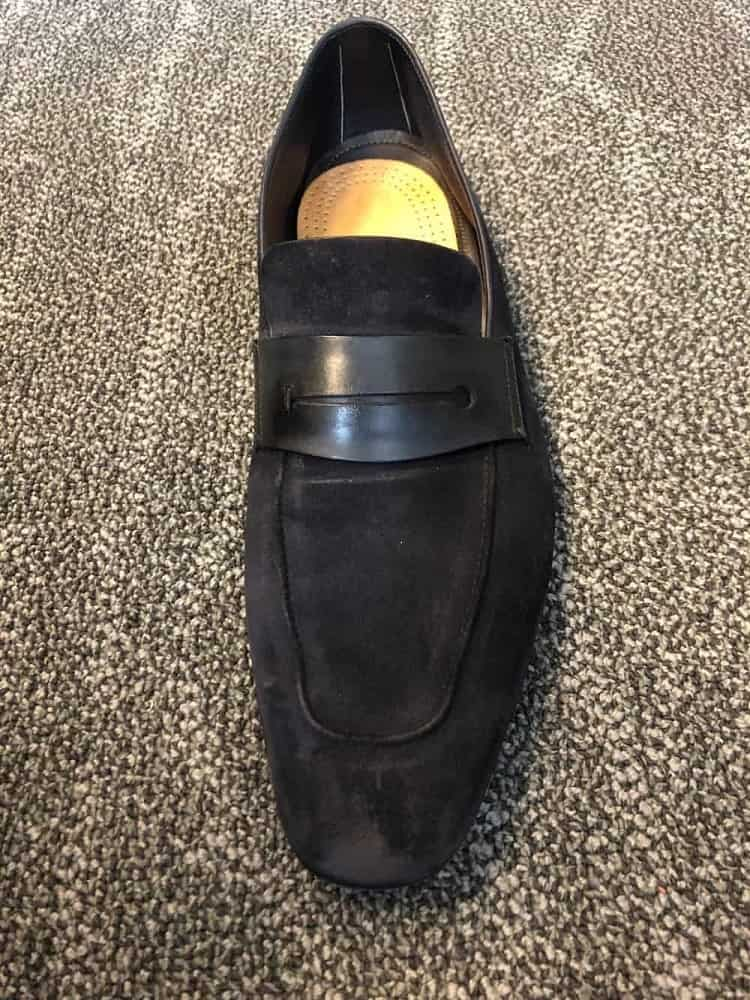 Front view of Zegna A'sola suede loafer.