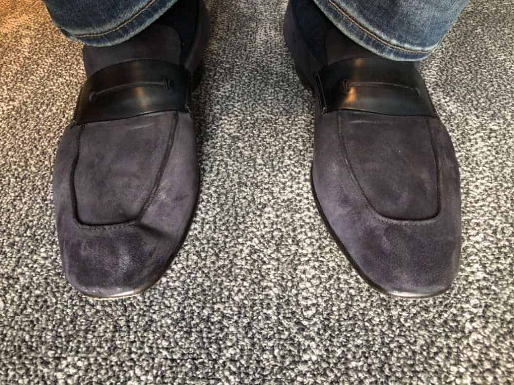 Photo of Ermenegildo Zegna A'Sola loafers worn with jeans.