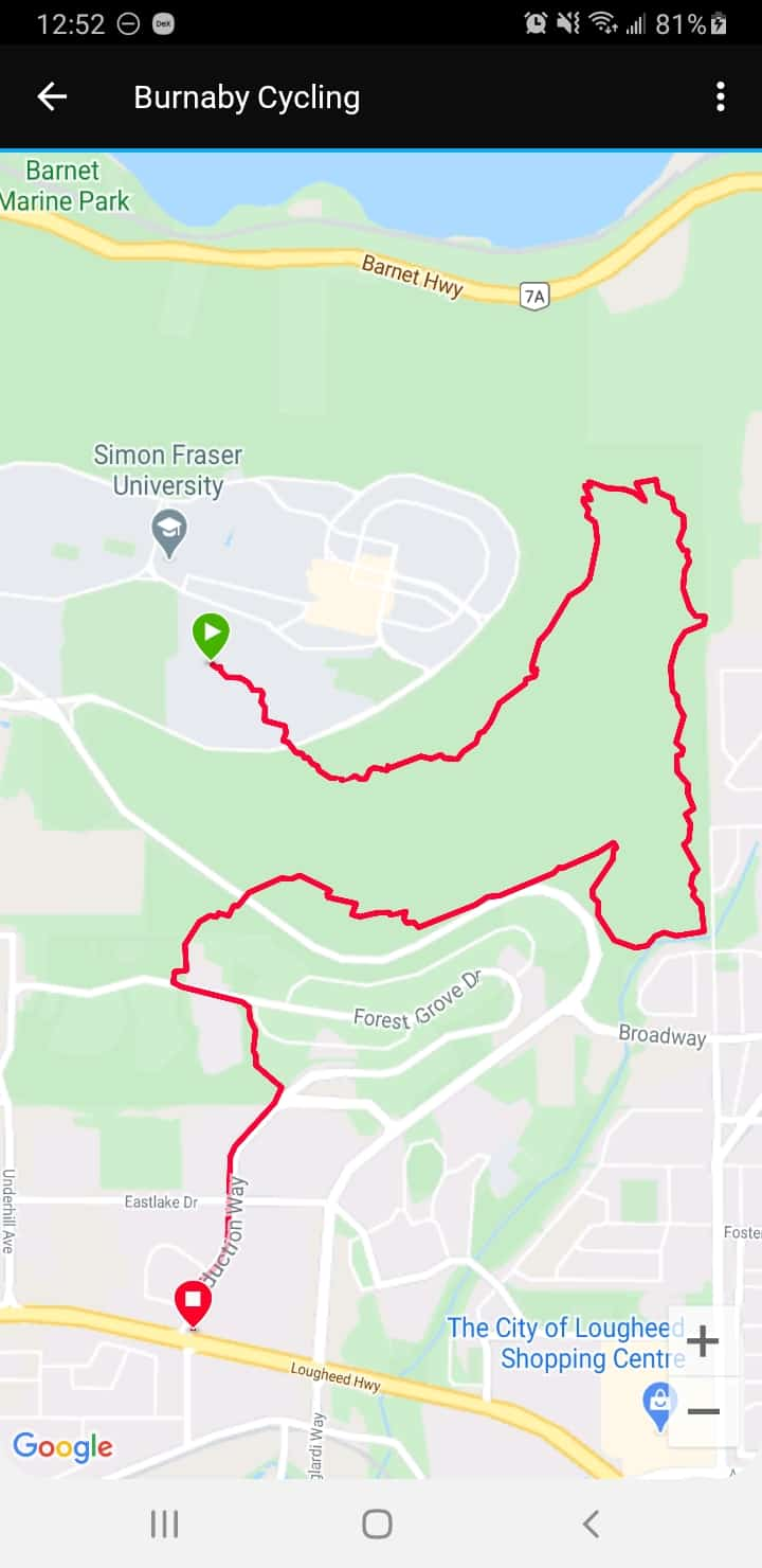 Garmin Connect map of exercise