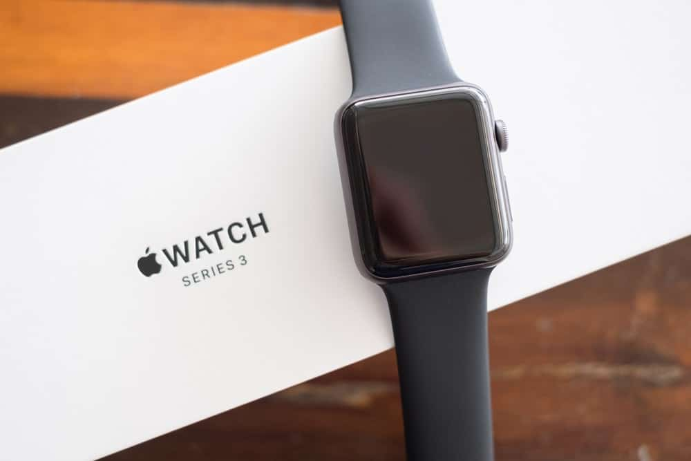 An Apple Watch series 3 GPS in space aluminum gray.