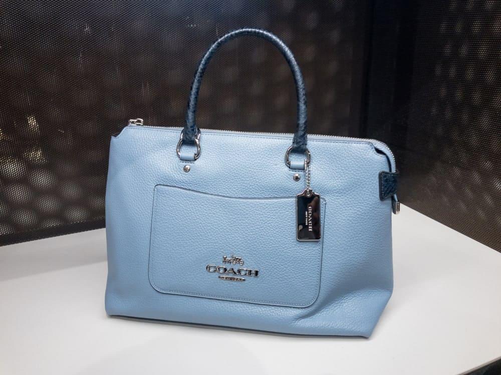Powder blue Coach purse displayed at a shopping center in Lutz, FL.