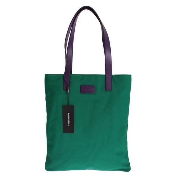 Dolce & Gabbana green denim leather hand shoulder travel bag