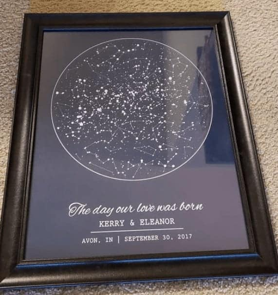 A framed wedding certificate from Etsy.