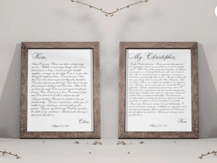 Framed wedding vows from Etsy.