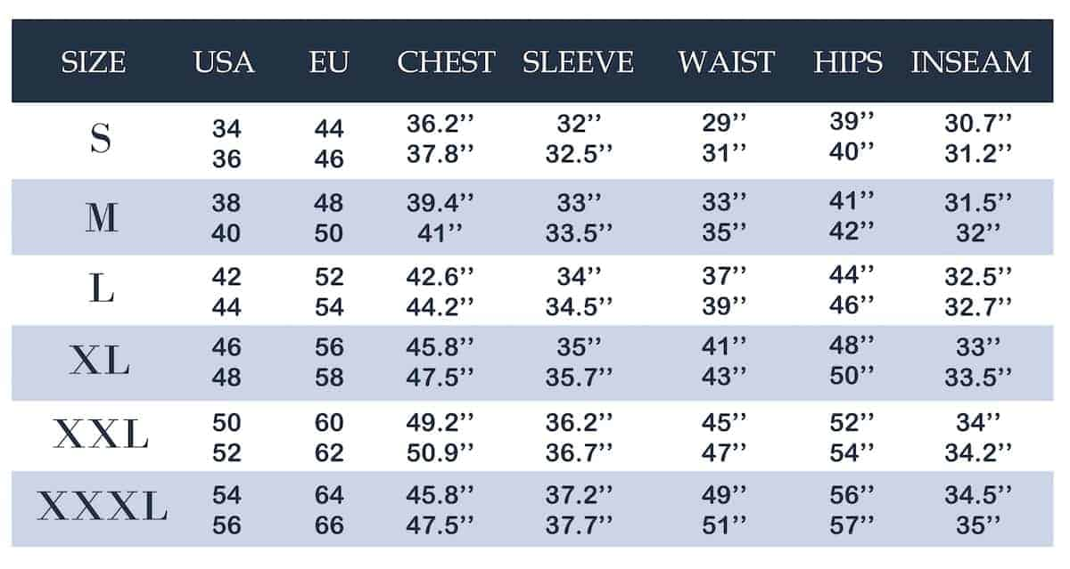 Men's clothing size conversion chart